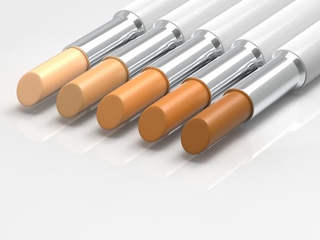 Stick concealer palette natural tone 3d render