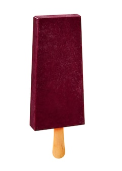 Stick ice cream acai flavor isolated on wood background. mexican pallets