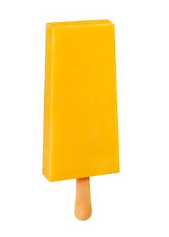 Stick ice cream mango  flavor isolated on wood background. mexican pallets