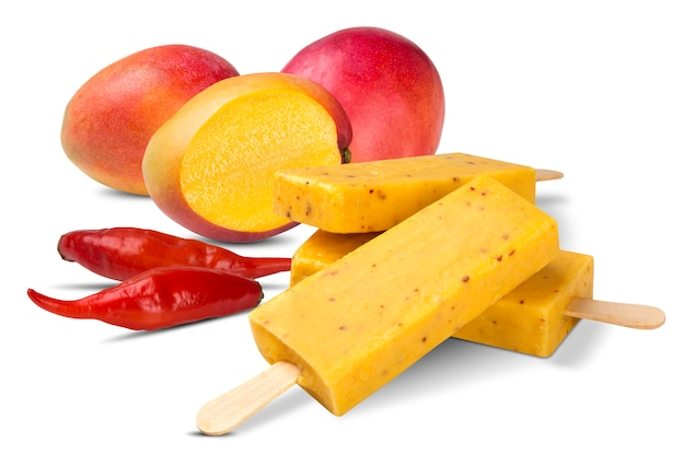 Stick ice cream mango with pepper flavor isolated on white background. mexican pallets.