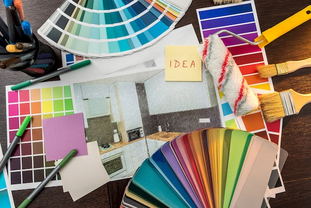 Sticker with home apartaments plan and color catalog for house renovation