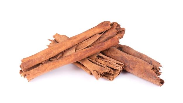 Sticks cinnamon, isolated on white . true cinnamon.