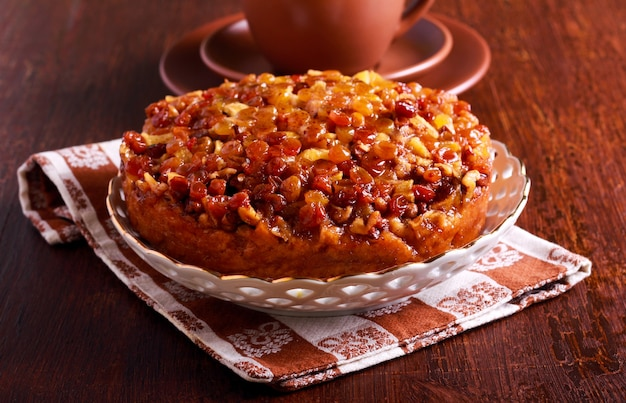 Sticky buckwheat cake with crunchy, syrup topping