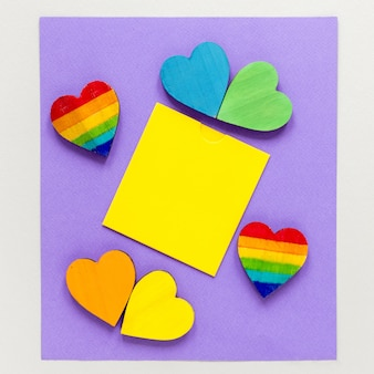Sticky note with hearts