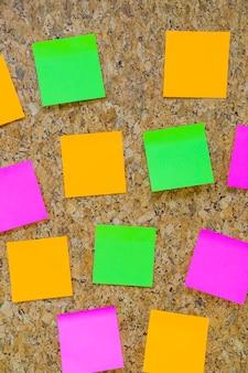 Sticky notes on cork