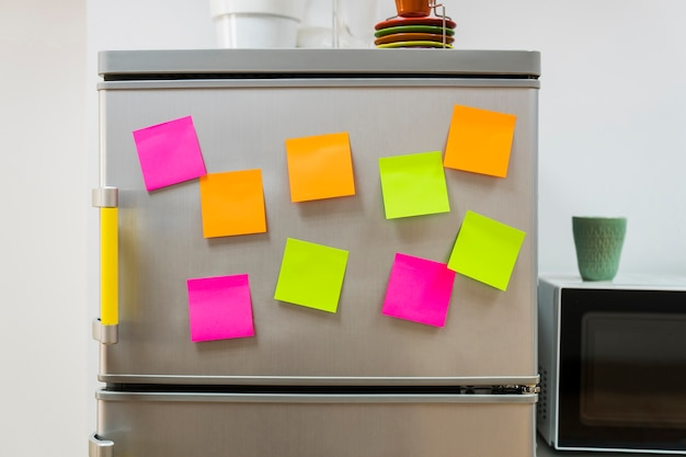 Sticky notes on fridge