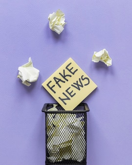 Sticky notes with fake news