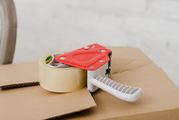 Sticky tape on box