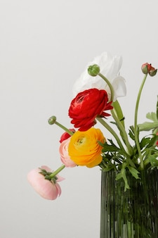 Still life arrangement of interior flowers in vase