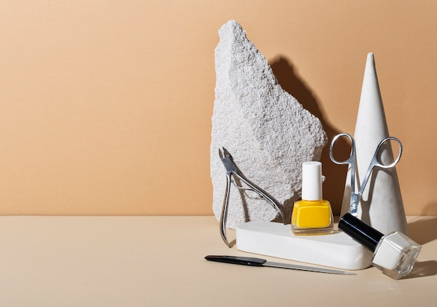 Still life arrangement of nail care products