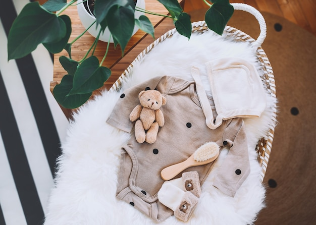 Still life background of child products in baby changing basket