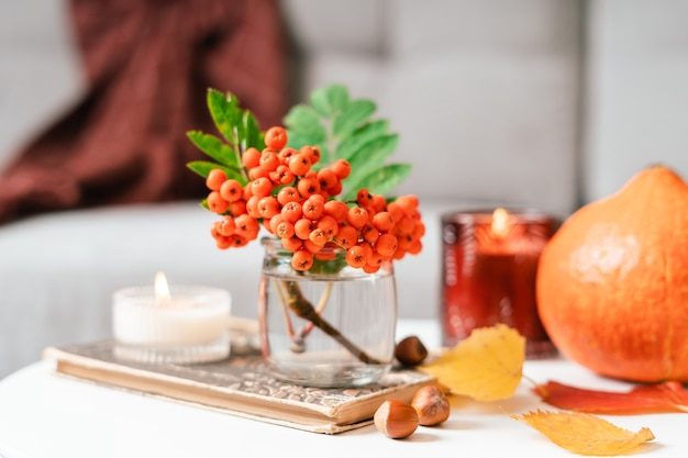 Still life book candle rowan berry pumpkin and a cup of tea or coffee in the living room on a table