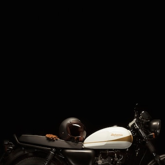 Still life of cafe racer style motorbike