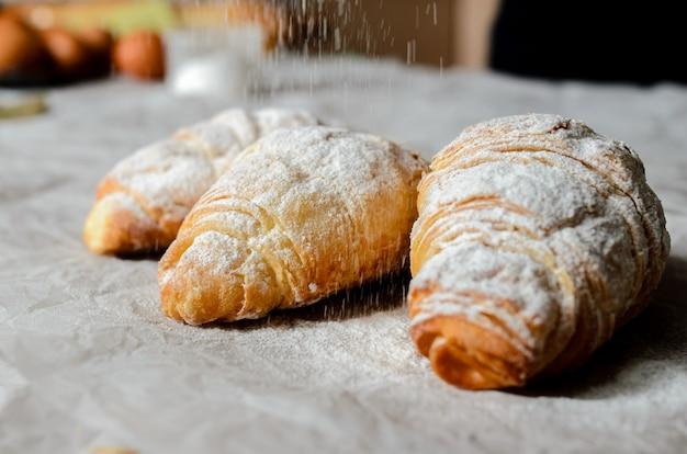 Still life of croissants.