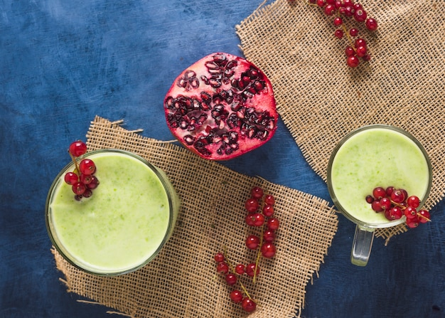 Still life of delicious green smoothie