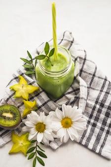 Still life of delicious kiwi smoothie