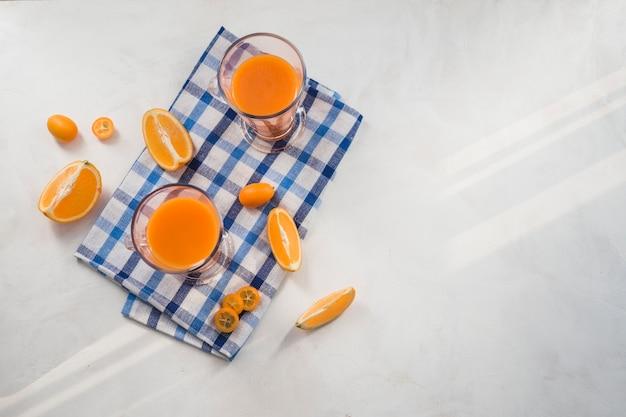 Still life of delicious orange smoothie
