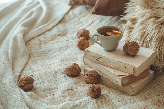 Still life details in home interior of living room. sweaters and cup of tea with a cone,  nuts and autumn decor on the books. read, rest. cozy autumn or winter concept.
