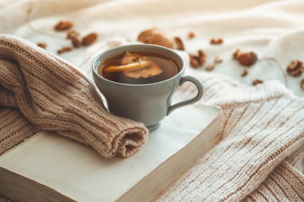 거실의 홈 인테리어에 정물화 세부 사항. 책에 원뿔, 견과류 및 가을 장식으로 스웨터와 차 한잔. 읽고 쉬세요. 아늑한 가을 또는 겨울 개념.