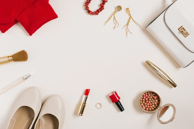 Still life of a fashionista. women's cosmetic background. flat lay for valentine's day