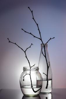 Натюрморт. стекло очистить. стеклянная банка и бутылка с веточками. красочный фон.