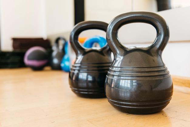 Still life of gym equipment