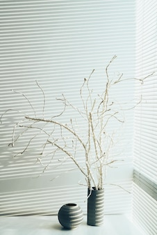 自宅のシャッター付き窓に花瓶に立っているデッドウッドの静物画像 無料写真