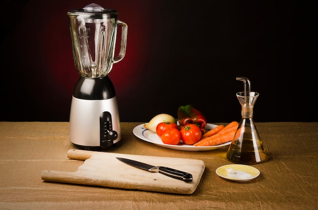 Still life: ingredients to make a gazpacho