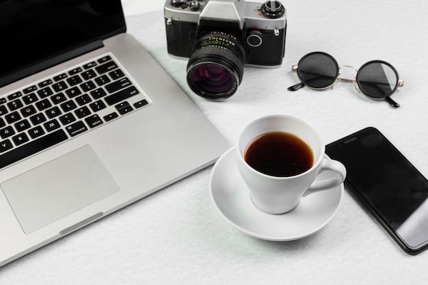 Still life of laptop on desk