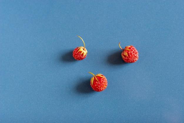 ほこりの質感を持つ青いセラミックタイル上の3つの野生のイチゴの静物