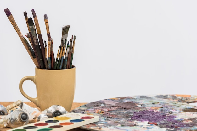 Still life of paint materials