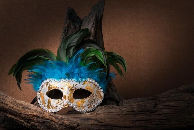Натюрморт с фотографией карнавальной маски и дерева