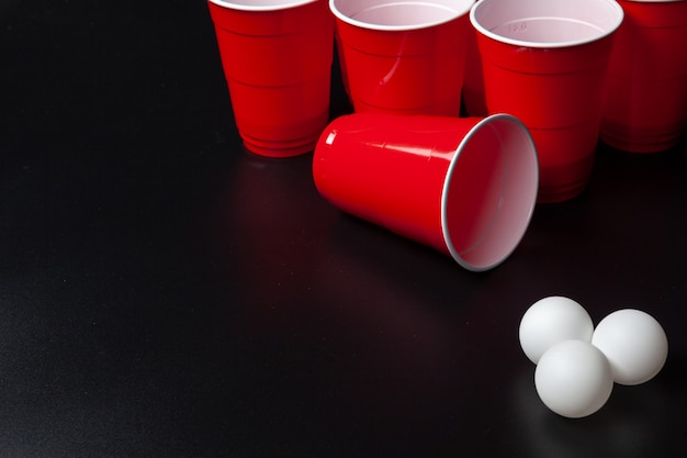Still life shot of a beer pong game