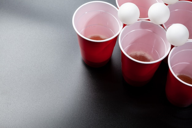 Still life shot of a beer pong game