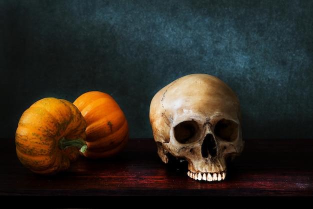 Still life skull  with pumpkin, hollaween