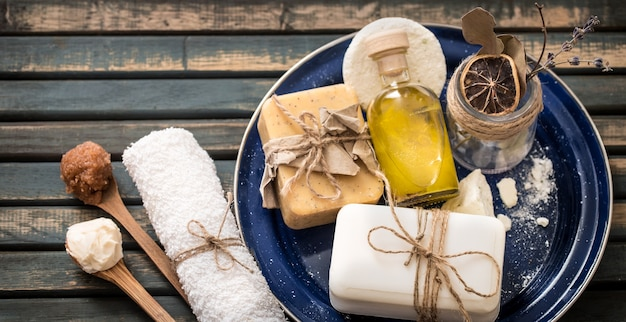 Still life of spa with soap