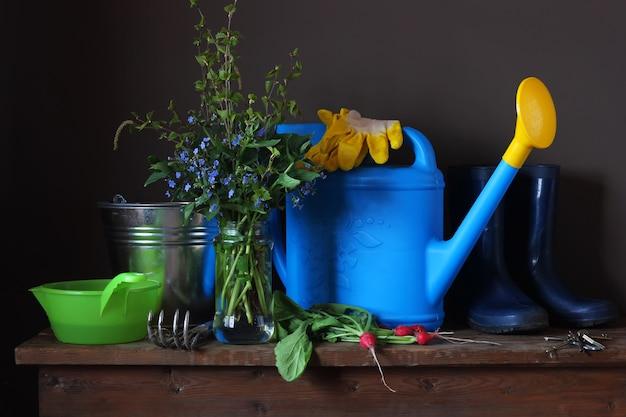 Still life spring bouquet, radish and garden equipment.