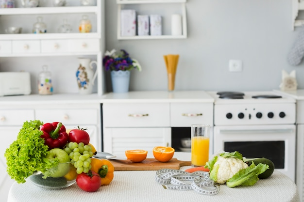 Still life of table with healthy food