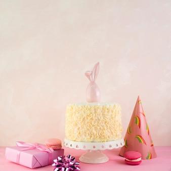 Still life of tasty birthday cake