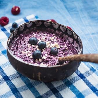 Still life of tasty blueberry smoothie