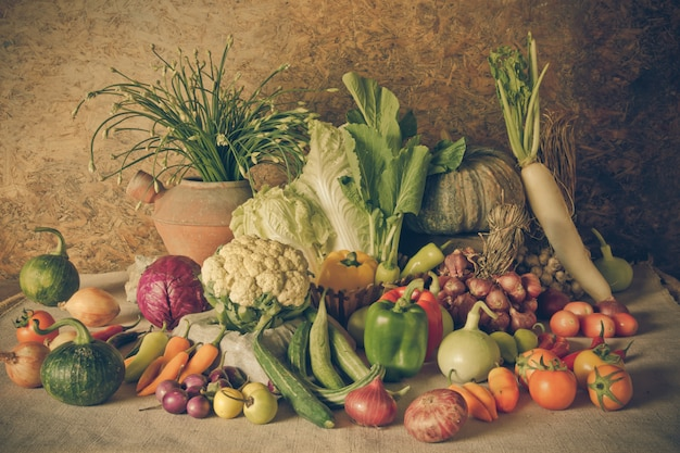 Still life  vegetables, herbs and fruits.