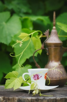 Still life with antique pitcher and cup of coffee covered with green plants