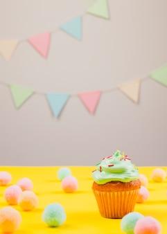 Still life with birthday muffin
