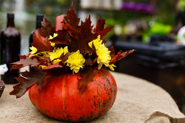 Still life with bouquet of autumn flowers in a pumpkin.