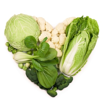 Still life with cabbage in the form of a green heart