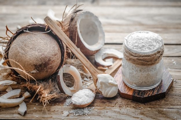 Still life with coconut on a wooden table