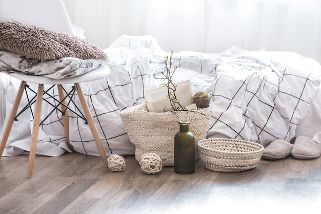 Still life with details of home decor in a cozy interior of the room