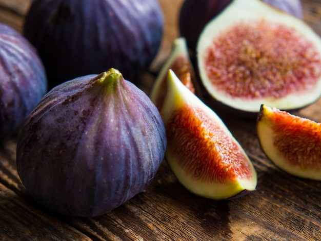 Still life with fresh figs on an old table