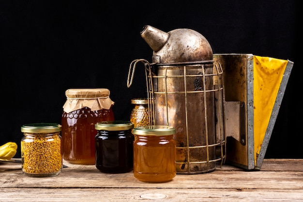 Still life with honey utensils
