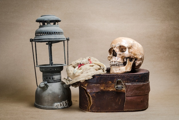 Still life with human skull and lantern